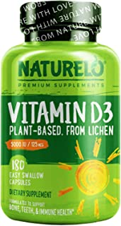 NATURELO Vitamin D - 5000 IU - Plant Based - From Lichen - Best Natural D3 Supplement for Immune System, Bone Support, Joi...