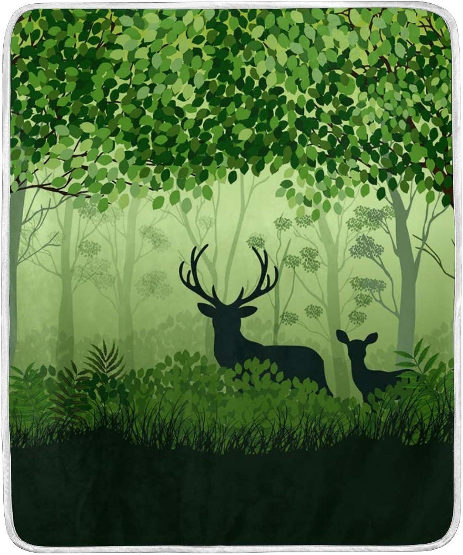 Winter Spring Year Elk Deer Throw Blanket Soft Nap Couch Bed Blankets Kid Boy Girl Women Men 50x60 inch