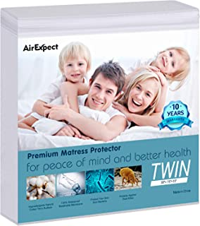 AirExpect Waterproof Mattress Protector Twin Size – AirExpect 100% Organic Cotton..
