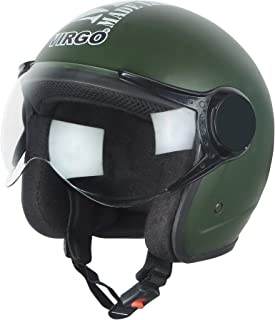 Virgo helmet ISI Certified BLT Color Green Matt finish Clear visor