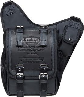 Retro Casual Shoulder Backpack Sports Canvas Handbag Crossbody Messenger Bag Chest Pack for Men by KAUKKO (03-2-Black)