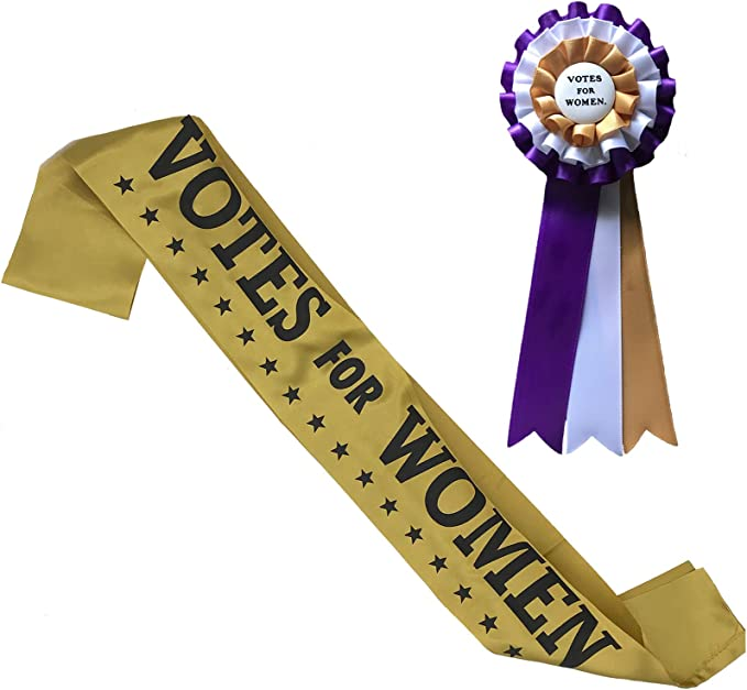 1900 -1910s Edwardian Fashion, Clothing & Costumes 2 Item Suffragist and Suffragette Costume Kit with Sash and Rosette. 1920 Votes for Women Dress Up Accessories. Suffrage for Women. Purple  AT vintagedancer.com