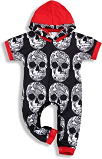 Halloween Toddler Baby Boys Hoodie Skull Bone Print Bodysuit Jumpsuit Outfits Clothes Set