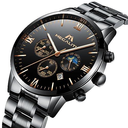 71168b37ad5873 Orologio Uomo Acciaio Inox Nero Orologio da Polso Lusso Impermeabile  Cronografo Data Calendario Quadrante Grande Orologi