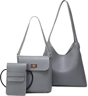 New Daughter Package Three-Piece Fashion Simple Shoulder Bag Big Bag Messenger Bag (Color : Gray, Size : M)