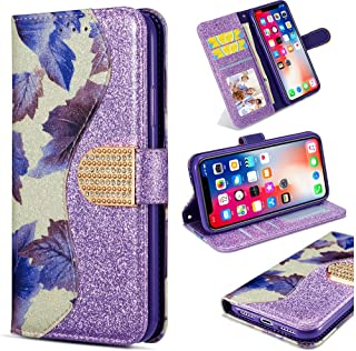 Brilliant Slim Leather Bookstyle Compatible with Samsung A10,Bling Glitter Diamond Loves Sparkle Flip Kickstand Wallet Stand Function Magnetic Switch Closure Card Slots Protective
