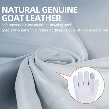 Vgo 1-Pair Natural Genuine Goatskin Leather Gardening Gloves, Long Cuff Protection, High Dexterity Grip Gloves (Size M, White
