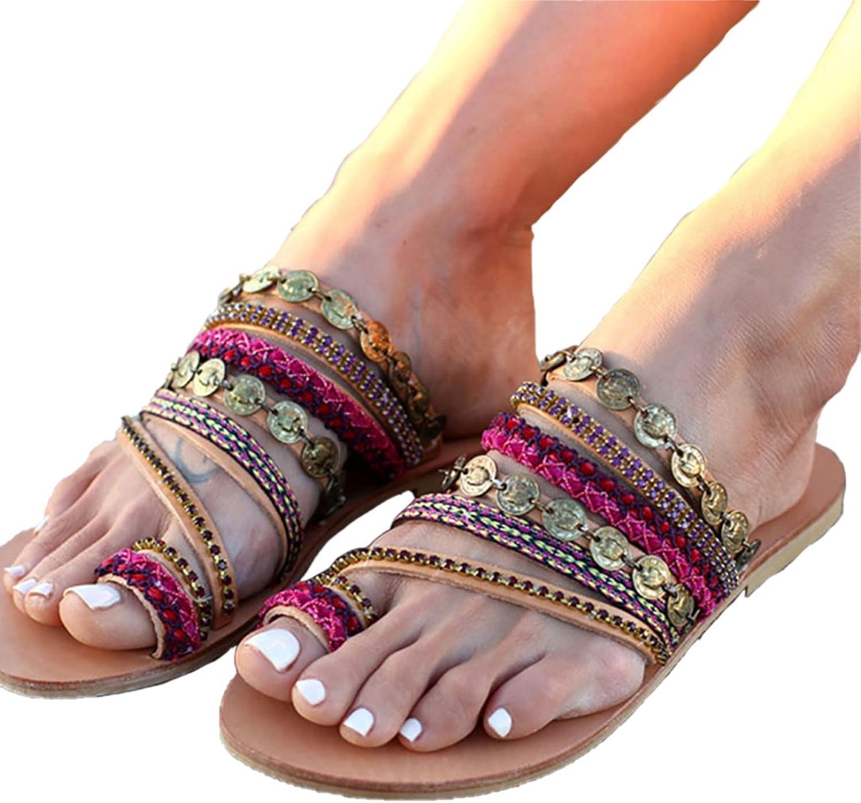 Womens Sandals Flat Heels Gladiator Rome Glitter shoes Ladies Beach Soft Sandals