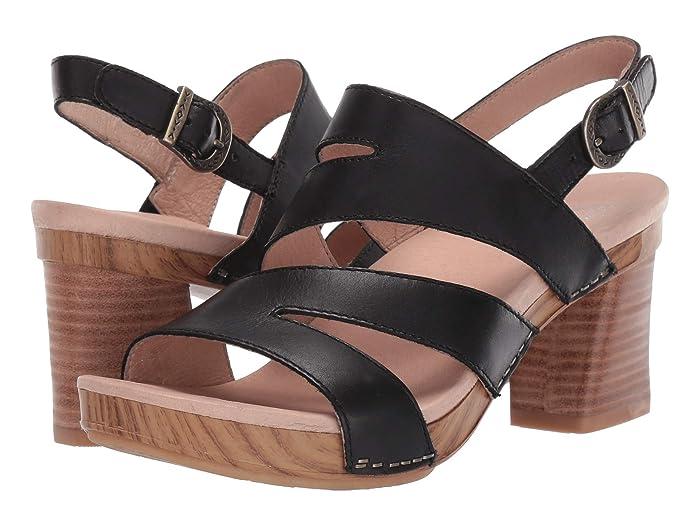 Dansko  Ashlee (Black Burnished Calf) Womens Dress Sandals