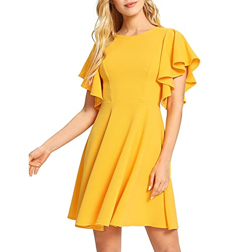 83758613a00 Romwe Women s Stretchy A Line Swing Flared Skater Cocktail Party Dress