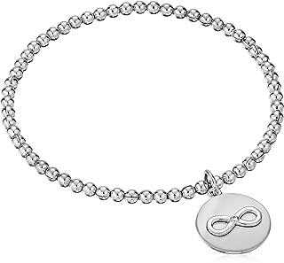 Sterling Silver Diamond Accent Sentiment Stretch Bead Charm Bracelet