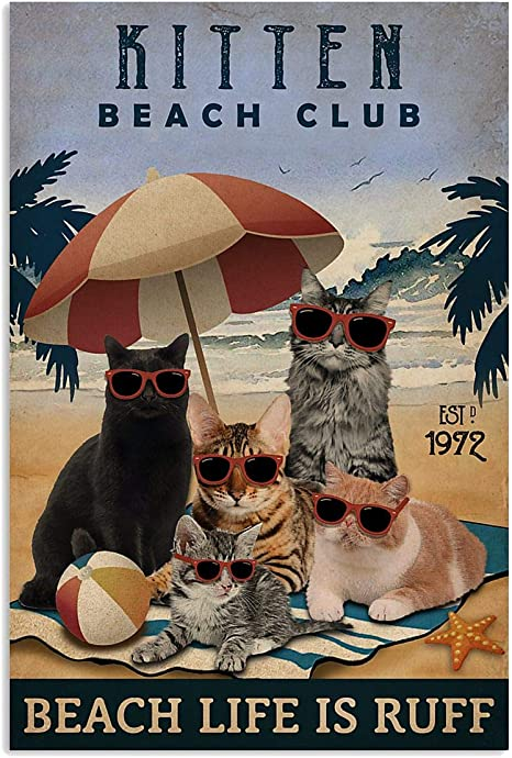 Black Cat Beach Club Beach Life Is Ruff Vintage Poster Funny Cat Lover Gift TP16 Cat Beach Summer Vintage Poster Love Cat Vintage Poster