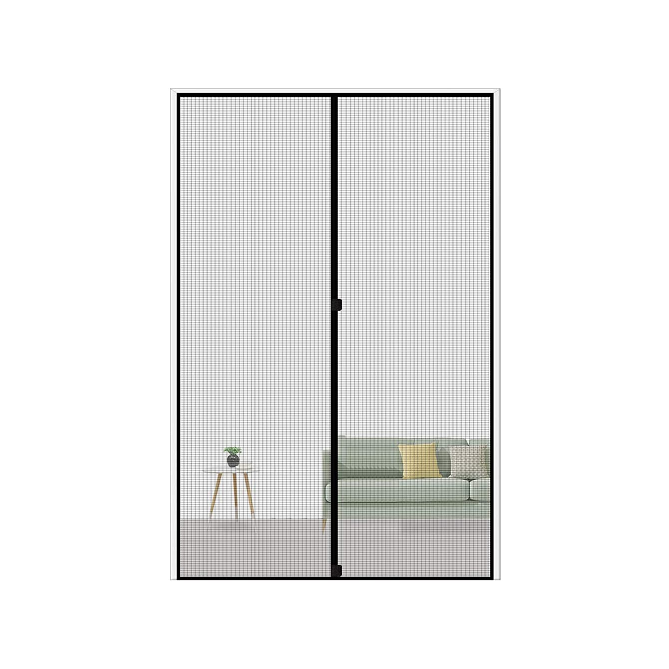 MAGZO Magnetic Screen Door 36 x 80, Reinforced Fiberglass Mesh Curtain Sliding Door Mesh with Full Frame Hook&Loop Fits Door Size up to 36