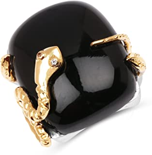 Snake Ring, 18.94 Carat Genuine Black Onyx and White Topaz Solid .925 Sterling Silver