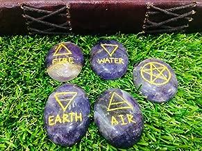 ZAICUS Amethyst 5 Element Reiki Stone 5 pc Set Oval Shape Chakra Healing Engraved Reiki Symbols Aura Cleansing Karuna Stone Set Size 35-40mm Approx