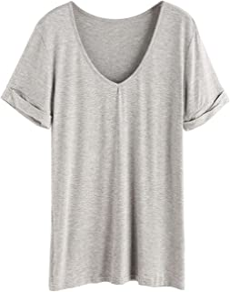 bf95ebfca SheIn Women s Summer Short Sleeve Loose Casual Tee T-Shirt