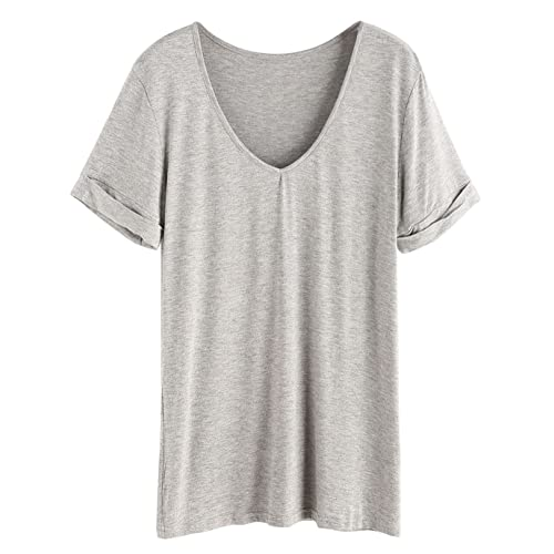 a66bb2494a SHEIN Women's Summer Short Sleeve Loose Casual Tee T-Shirt Grey# Large