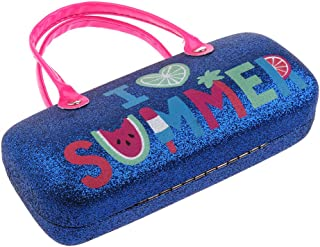 kesoto Hard Eyeglass Case With Handles For Girls And Kids - I Love Summer - Dark Blue