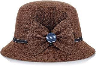 SHENLIJUAN Hat Ladies Middle-Aged Linen Breathable Fashion Elegant Shade hat (Color : Coffee, Size : 56-58cm)