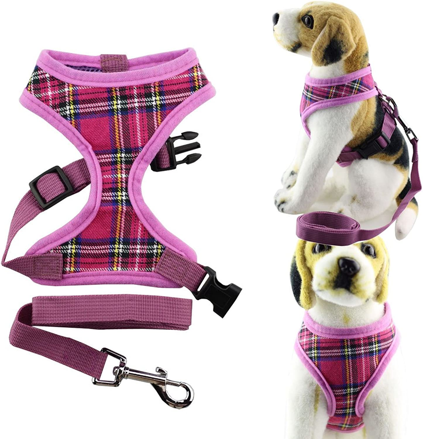 Bolbove Pet Adjustable Classic Plaid Mesh Harness and Leash Set for Cats & Dogs (Large, Pink)