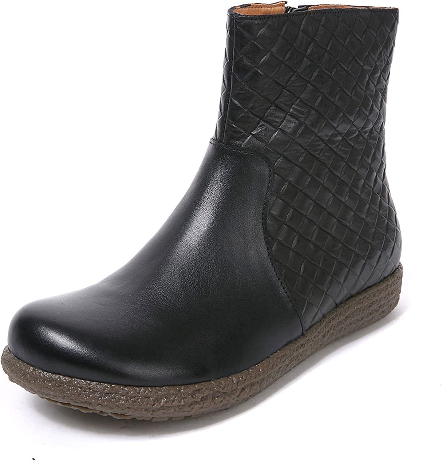 Barenx Women's Round Toe Rubber Outsole Pig Skin Lining Weave Pattern Cow Leather Ankle Boots
