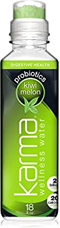Karma Wellness Flavored Probiotic Water, Kiwi Melon, 18 Fl Oz (Pack of 12), Supports Digestive and Immune System Health, Low Calorie, 2 Billion Active Cultures