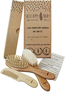 Wooden Baby Hair Brush Set: includes Natural Goat Hair Bristles Brush + Wooden Massage Brush + Comb