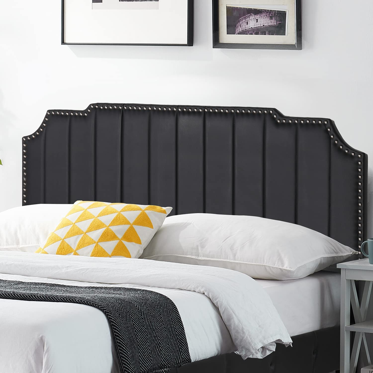 VECELO Faux Leather Max 59% OFF Headboard Black T Nail Heaboards Upholstered Large discharge sale