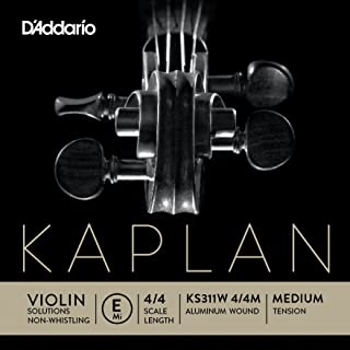 D`Addario Kaplan Non-Whistling Violin Aluminum Wound E String, 4/4 Scale