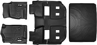 MAXFLOORMAT SMARTCOVERAGE Premium Floor Mats (3 Rows) and MAXTRAY Cargo Liner Behind 3rd Row Set Black for 2015-2018 Chevy Suburban/GMC Yukon XL