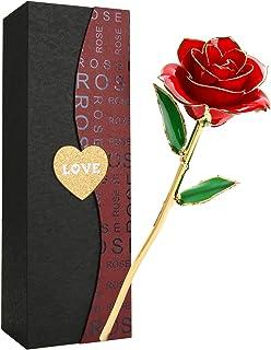 バラ 造花 ローズ Getonny 24K鍍金製 ホンコン フラワー ホワイトデー バレンタインデー ミツバー 結婚祝い お誕生日のギフト レッド (赤)