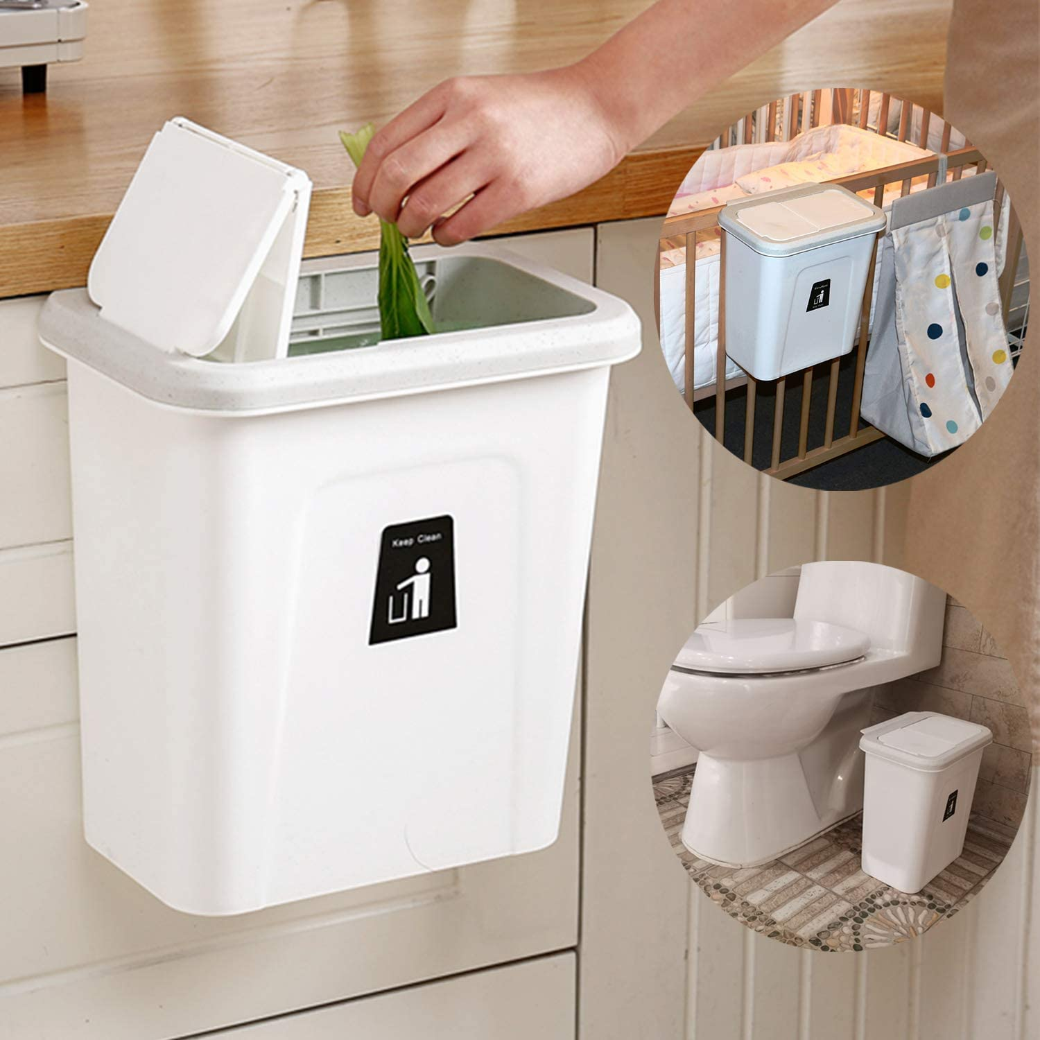 Amazon Com Karyhome Small Trash Can With Lid For Kitchen Cabinet Door Diaper Pail Hanging Garbage Can For Baby Crib And Narrow Spaces 2 6 Gallon White Home Kitchen