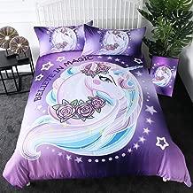 Sleepwish Fantasy Unicorn King Size Bedding Aqua Pink Cartoon Unicorn Bed Set 3 Pieces Purple Horse Bedspread