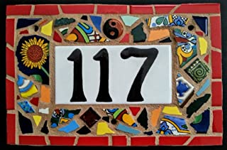 Tile Mosaic House Number Plaque, Address or Name Sign, Custom Hand Made