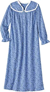 Long Flannel Nightgown for Women Eyelet Lace Trimmed Neckline