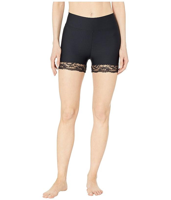 Plush Lace Trim Compression Spandex Active Bike Shorts (Black) Women