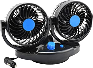 Taotuo 12v Auto Oscillating Car Fan Rotatable 2 Speed Dual Head Blade Quiet Strong Dashboard Electric Fans for SUV, RV, Boat, Vehicles