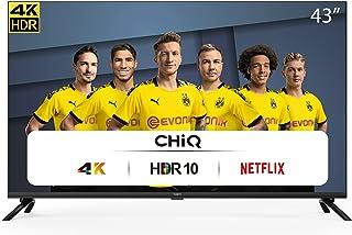 CHiQ U43H7L UHD 4K Smart TV, 43 inch (108 cm), HDR10 / hlg, WiFi, Bluetooth, Prime Video, Netflix 5.1, YouTube Kids, 3 HDM...
