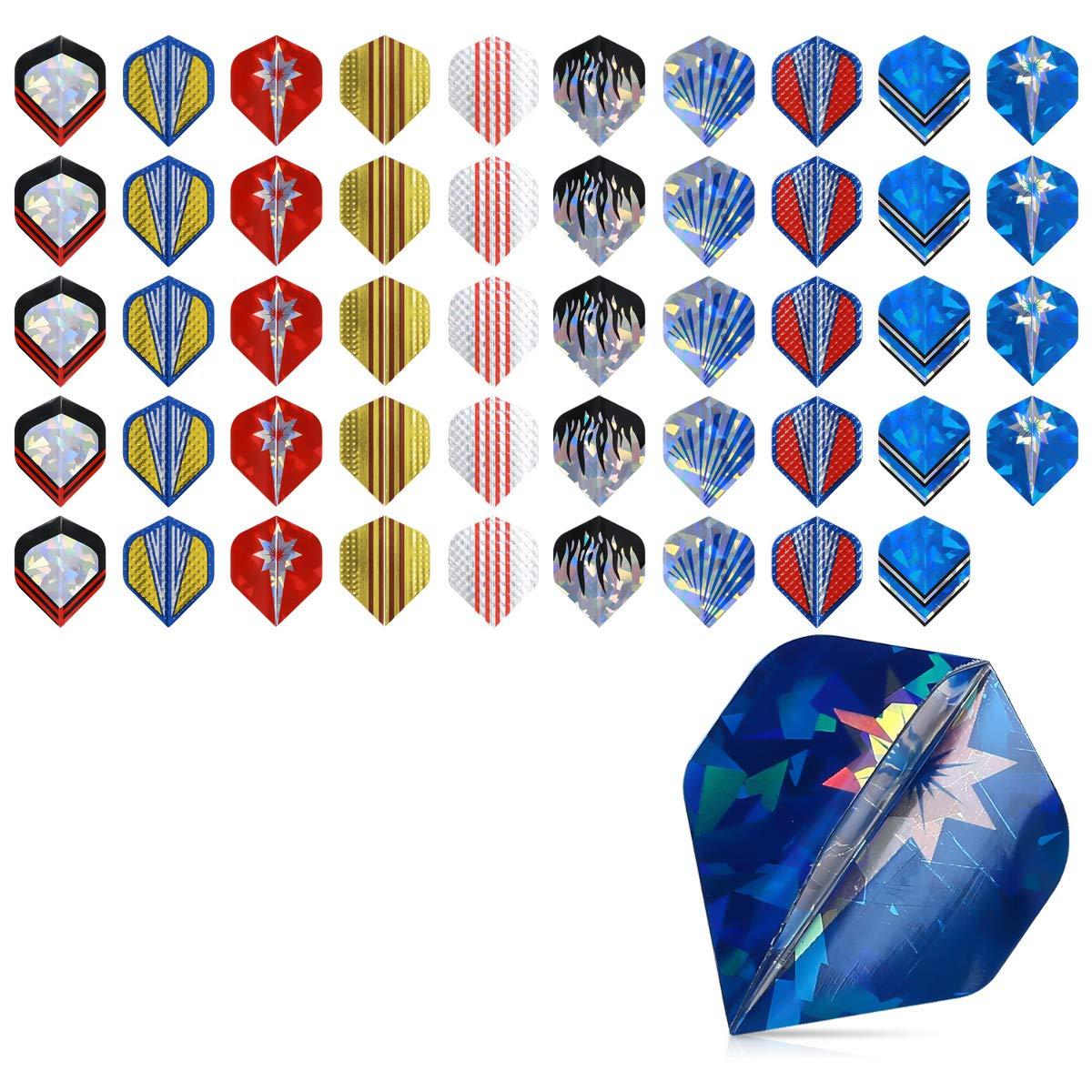 kwmobile 50x Protector de Vuelo para dardo - Set de 50 Protectores de Pluma de plástico - para Dardos de Metal o de plástico - Diferentes diseños.: Amazon.es: Deportes y aire libre