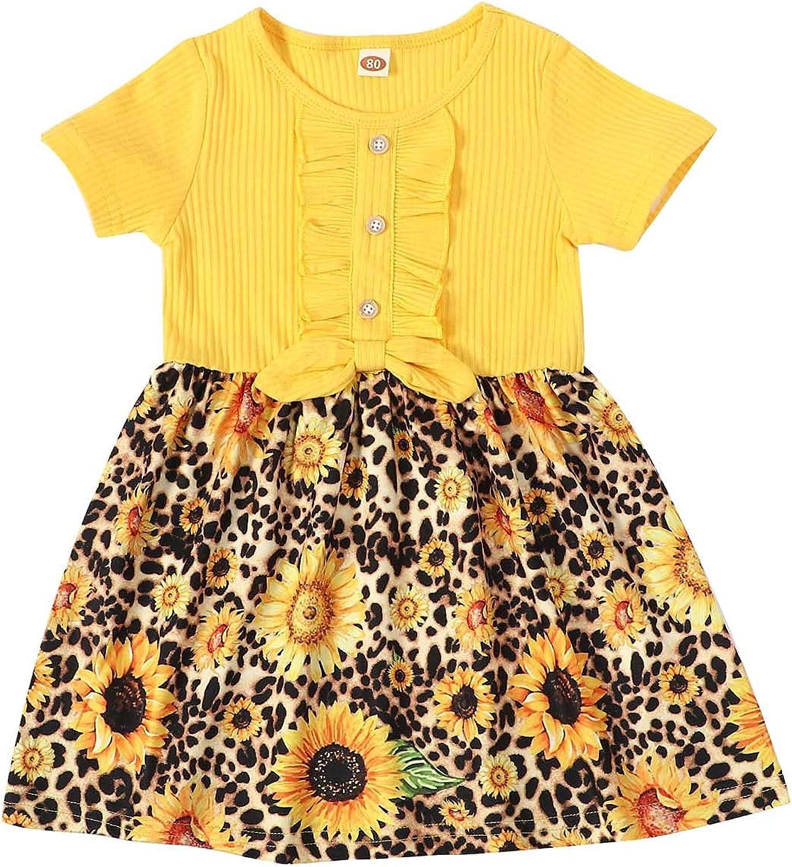 ESULOMP Toddler Kids Baby Girls Summer Clothes Cotton Short Sleeve Sunflower Stripe Dress Cute Kids Clothes
