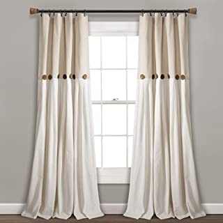Lush Decor Button Window Curtain Single Panel, 95