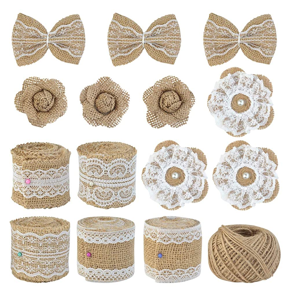 obmwang 15PCS Handmade Natural Burlap Flowers Set, Includes 9 PCS Twine Burlap Flowers, 5 Styles Lace Burlap Ribbon Rolls with Jute Twine for Wedding Home Decor DIY Craft