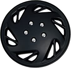 TuningPros WSC-054B15 Hubcaps Wheel Skin Cover 15-Inches Matte Black Set of 4