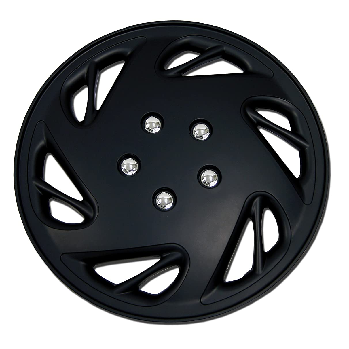 TuningPros WC-17-9054-B 17-Inches Pop On Type Improved Hubcaps Wheel Skin Cover Matte Black Set of 4