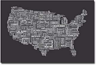 US Cities Text Map III by Michael Tompsett, 30x47-Inch Canvas Wall Art
