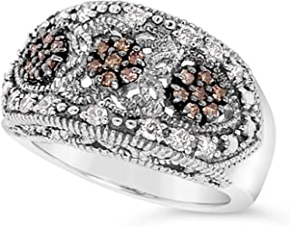 .925 Sterling Silver Chocolate Brown and White Diamond Three Stone Halo Milgrain Ring For Women 1/2 Carats