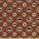 ABAKUHAUS Safari Gewebe als Meterware, Afrika-AFFE Lion