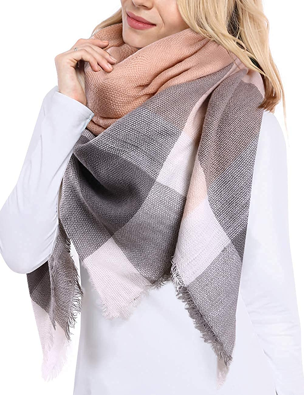 Blanket Women's Scarf Cashmere Scarf MKLP Scarf Tassel Scarf Winter Ladies Scarf Large Warm Shawl Plaid Scarf Large Shawl Keep Warm and Prevent Cold For Women