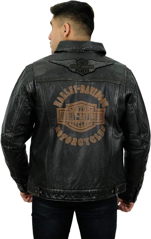 Harley-Davidson Mens Digger Trademark B&S Slim Fit Black Leather Jacket - MD 98036-19VM