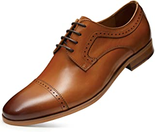 Men's Dress Shoes with Genuine Leather in Cap-Toe Classic Oxford Formal Style Shoes for Men